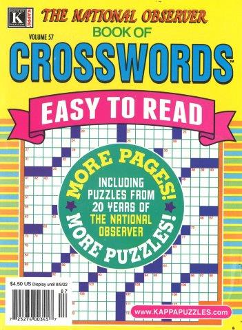 CROSSWORD PUZZLES ONLY, NAT OBSERVER BK XWRD Magazine