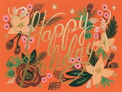 Happy Holidays Floral Card Magazine